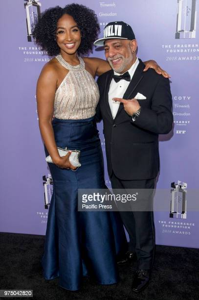 Tiff Benson and Carlos Powell attend 2018 Fragrance Foundation Awards at Alice Tully Hall at Lincoln Center