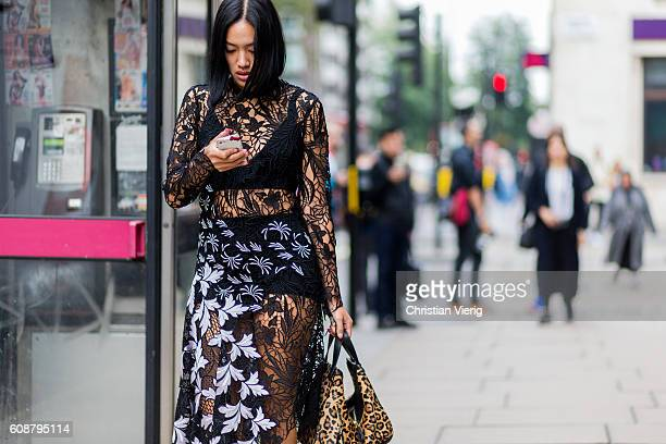 Tiffaany Hsu wearing a sheer dress outside during London Fashion Week Spring/Summer collections 2017 on September 19 2016 in London United Kingdom