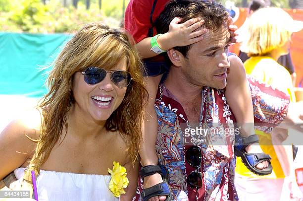 Tiffani Amber Thiessen and Luke Perry at the 2004 Target A Time for Heroes Celebrity Carnival to benefit the Elizabeth Glaser Pediatric AIDS...