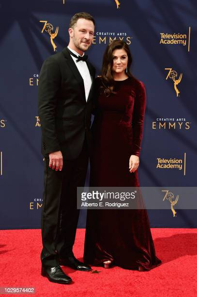 Tiffani Thiessen and Brady Smith attends the 2018 Creative Arts Emmy Awards at Microsoft Theater on September 8 2018 in Los Angeles California