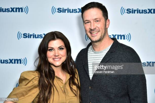 Tiffani Thiessen and Brady Smith visit SiriusXM Studios on May 1 2019 in New York City
