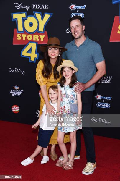 Tiffani Thiessen Brady Smith Harper Renn Smith and Holt Fisher Smith arrive at the premiere of Disney and Pixar's Toy Story 4 on June 11 2019 in Los...