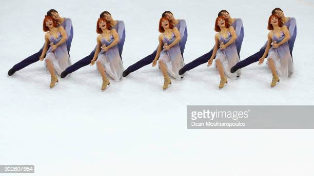 Tiffani Zagorski and Jonathan Guerreiro of Olympic Athlete from Russia compete in the Figure Skating Ice Dance Free Dance on day eleven of the...