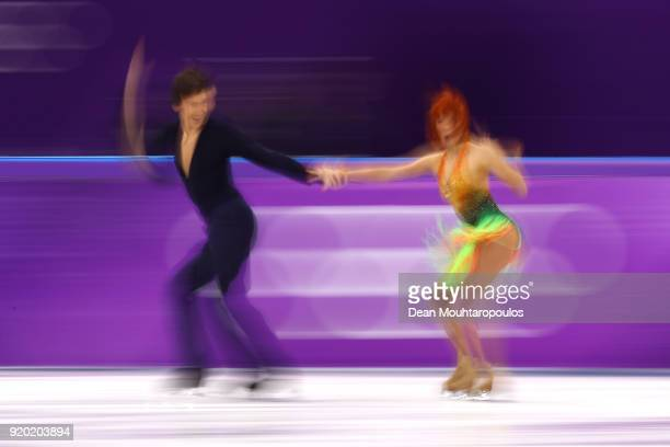 Tiffani Zagorski and Jonathan Guerreiro of Olympic Athlete from Russia compete during the Figure Skating Ice Dance Short Dance on day 10 of the...