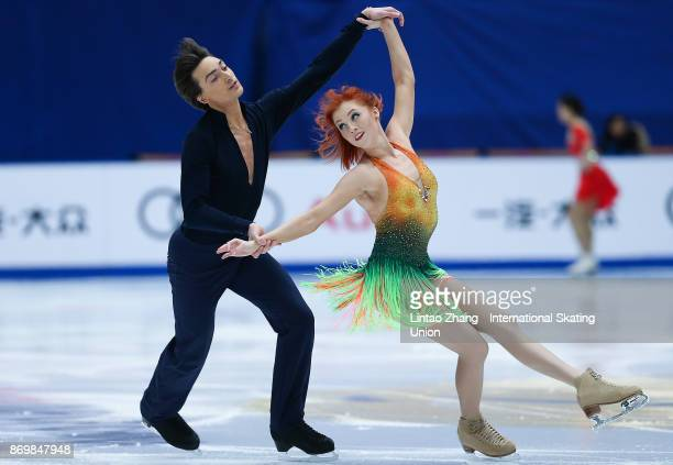 Tiffani Zagorski and Jonathan Guerreiro of Russia compete in the Ice Dance Short Dance on day one of Audi Cup of China ISU Grand Prix of Figure...