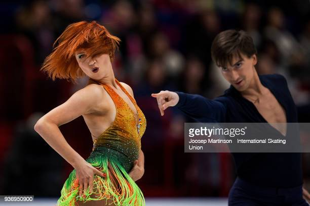 Tiffani Zagorski and Jonathan Guerreiro of Russia compete in the Ice Dance Free Dance during day two of the World Figure Skating Championships at...