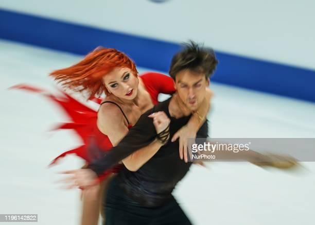 Tiffani Zagorski and Jonathan Guerreiro of Russia in action during Ice Dance Free Dance at ISU European Figure Skating Championships in...