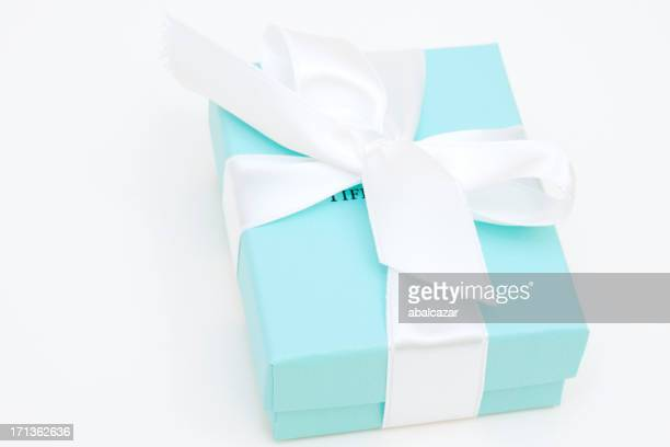 tiffany and co. gift box - tiffany co stock photos and pictures