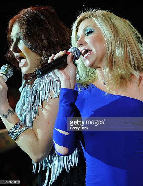 Tiffany and Deborah Gibson perform together at the Paramount Theater on July 31 2011 in Asbury Park New Jersey