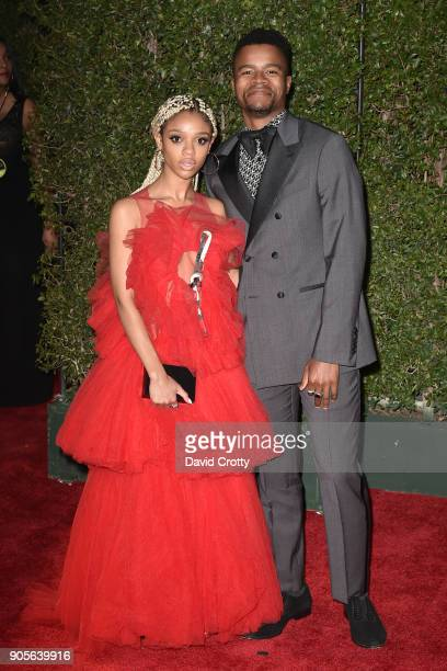 Tiffany Boone and Marque Richardson attend the 49th NAACP Image Awards Arrivals at Pasadena Civic Auditorium on January 15 2018 in Pasadena California