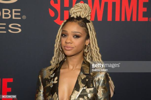 Tiffany Boone arrives for the Showtime Golden Globe Nominees Celebration at Sunset Tower on January 6 2018 in Los Angeles California