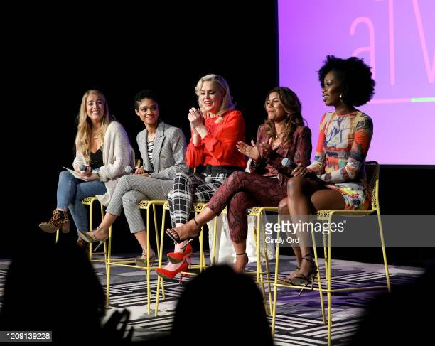 Tiffany Boone, Elaine Hendrix, Lisa Vidal and Xosha Roquemore attend SCAD aTVfest 2020 - Wonder Women: Acting For Television Presented By...