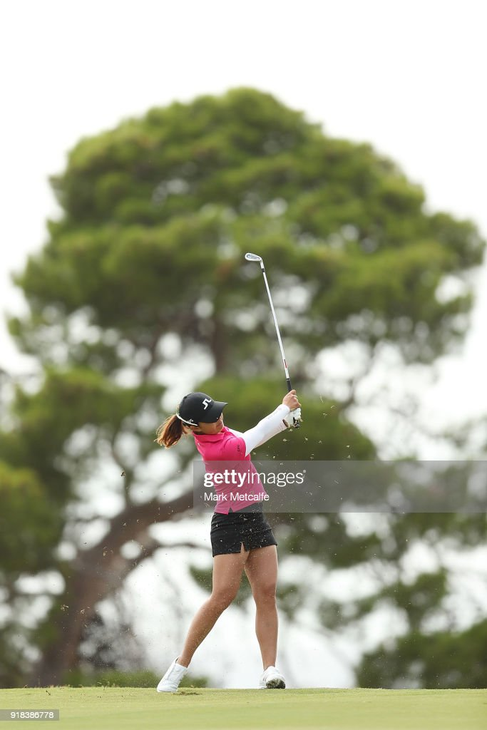 Tiffany Chan of Hong Kong hits an approach shot on the 8th hole during day one of the ISPS Handa Australian Women's Open at Kooyonga Golf Club on February 15, 2018 in Adelaide, Australia.