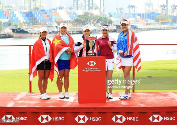 Tiffany Chan of Hong Kong Shanshan Feng of China Inbee Park of South Korea So Yeon Ryu of South Korea and Lexi Thompson of the United States pose...