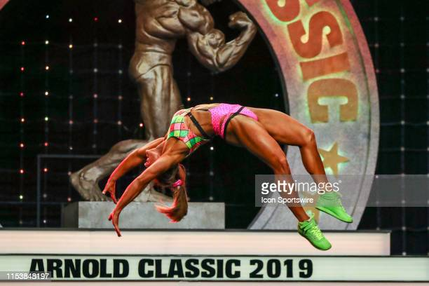Tiffany Chandler competes in Fitness International as part of the Arnold Sports Festival on March 1 at the Greater Columbus Convention Center in...