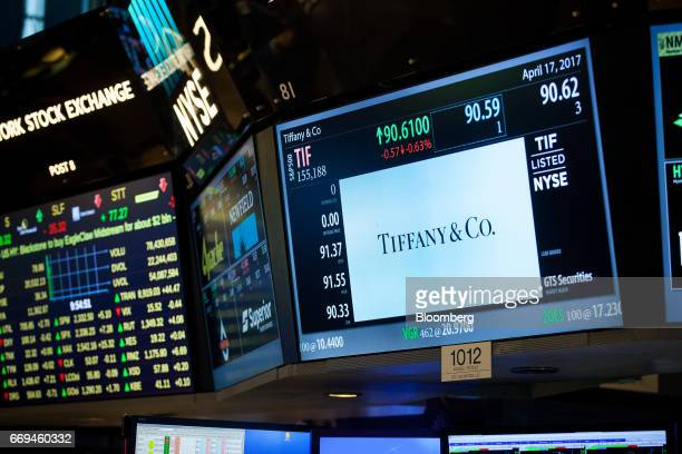 Tiffany Co signage is displayed on a monitor on the floor of the New York Stock Exchange in New York US on Monday April 17 2017 US stocks rebounded...