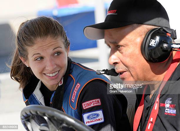 Tiffany Daniels talks with Wendell Scott during the NASCAR Drive for Diversity Combine at South Boston Speedway on October 13, 2008 in South Boston,...