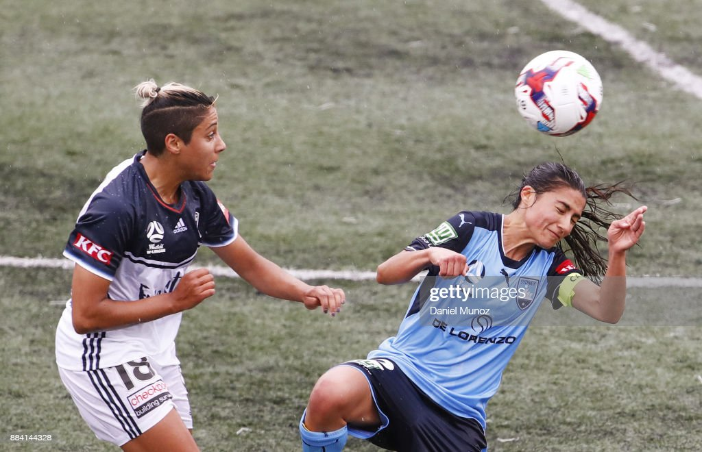 Tiffany Eliadis of Melbourne fights for a high ball against Teresa Polias of Sydney FC during the round six W-League match between Sydney FC and Melbourne Victory at Cromer Park on December 2, 2017 in Sydney, Australia.