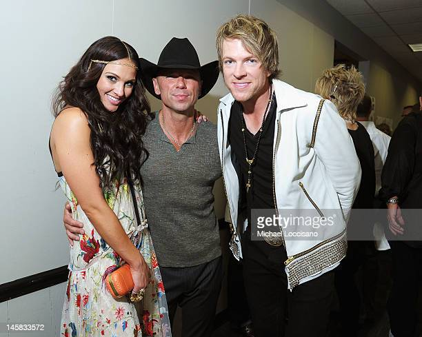 Tiffany Fallon, Kenny Chesney, and Joe Don Rooney attend the 2012 CMT Music awards at the Bridgestone Arena on June 6, 2012 in Nashville, Tennessee.