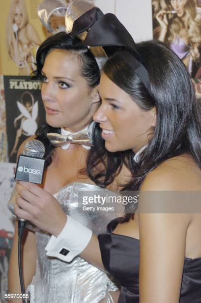 Tiffany Fallon Playmate of the year 2005 and Janine Habeck Playmate of the year 2004 attend the Playboy Exposed private view at the Sony Ericsson...