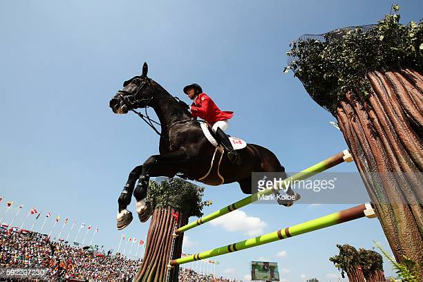 Tiffany Foster of Canada riding Tripple X III competes during the Equestrian Jumping Individual Final Round on Day 14 of the Rio 2016 Olympic Games...