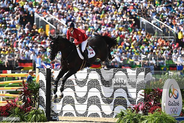 Tiffany Foster of Canada riding Tripple X III during the Jumping Team Round 2 during Day 12 of the Rio 2016 Olympic Games at the Olympic Equestrian...