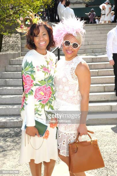 Tiffany Gardner and Michele Brazil attend 36th Annual Frederick Law Olmsted Awards Luncheon Central Park Conservancy at The Conservatory Garden in...