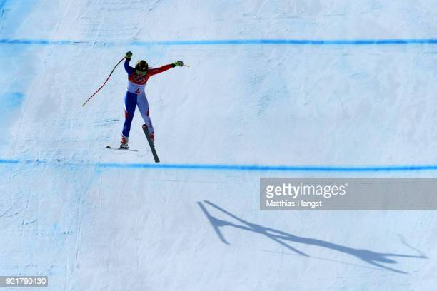 Tiffany Gauthier of France competes during the Ladies' Downhill on day 12 of the PyeongChang 2018 Winter Olympic Games at Jeongseon Alpine Centre on...