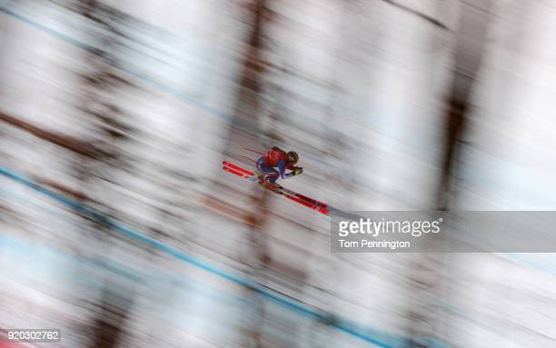 Tiffany Gauthier of France makes a run during Alpine Skiing Ladies' Downhill Training on day 10 of the PyeongChang 2018 Winter Olympic Games at...