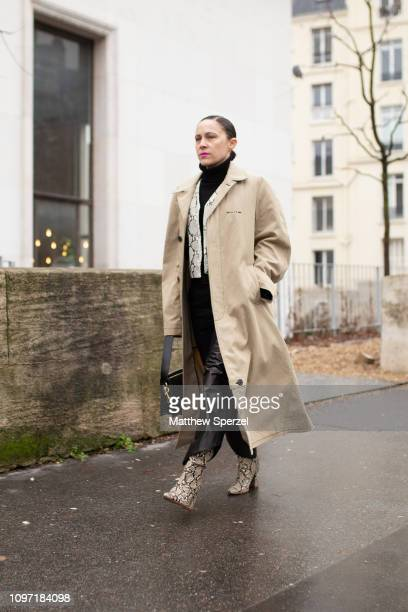 Tiffany Godoi is seen on the street during Men's Paris Fashion Week AW19 on January 20, 2019 in Paris, France.