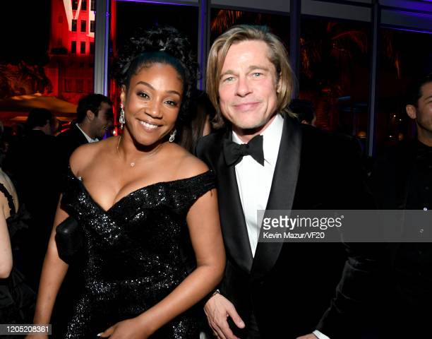 Tiffany Haddish and Brad Pitt attend the 2020 Vanity Fair Oscar Party hosted by Radhika Jones at Wallis Annenberg Center for the Performing Arts on...