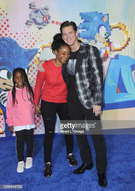 Tiffany Haddish and Cadence Martin with Jim Carrey attend the LA Special Screening Of Paramount's Sonic The Hedgehog held at Regency Village Theatre...
