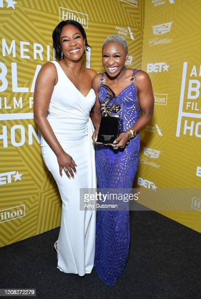 Tiffany Haddish and Cynthia Erivo pose with the Rising Star Award backstage during the American Black Film Festival Honors Awards Ceremony at The...