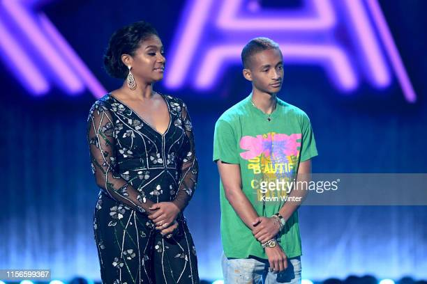 Tiffany Haddish and Jaden Smith onstage during the 2019 MTV Movie and TV Awards at Barker Hangar on June 15 2019 in Santa Monica California