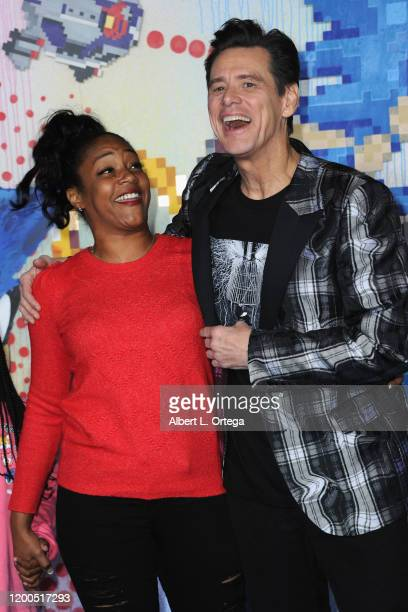Tiffany Haddish and Jim Carrey attend the LA Special Screening Of Paramount's Sonic The Hedgehog held at Regency Village Theatre on February 12 2020...