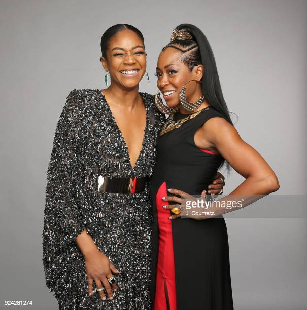Tiffany Haddish and Tichina Arnold pose for a portrait during the 2018 American Black Film Festival Honors Awards at The Beverly Hilton Hotel on...