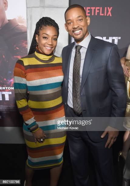 Tiffany Haddish and Will Smith attend the LA Premiere of Netflix Films 'BRIGHT' on December 13 2017 in Los Angeles California