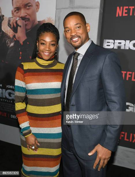 Tiffany Haddish and Will Smith attend the Premiere Of Netflix's 'Bright' at Regency Village Theatre on December 13 2017 in Westwood California