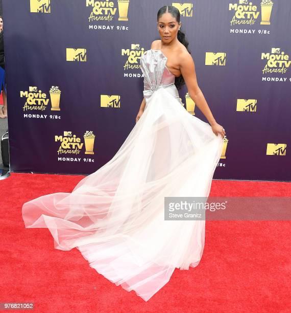 Tiffany Haddish arrives at the 2018 MTV Movie And TV Awards at Barker Hangar on June 16 2018 in Santa Monica California
