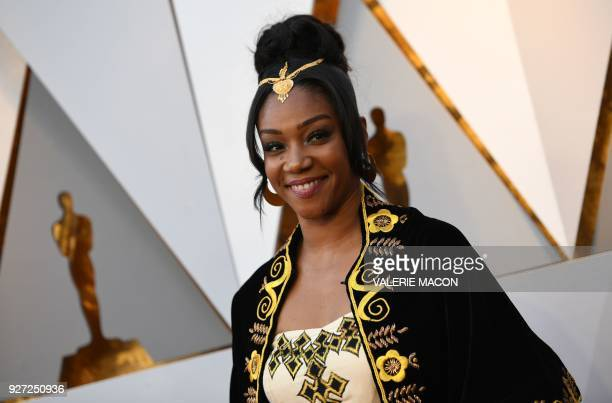 Tiffany Haddish arrives for the 90th Annual Academy Awards on March 4 in Hollywood California / AFP PHOTO / VALERIE MACON