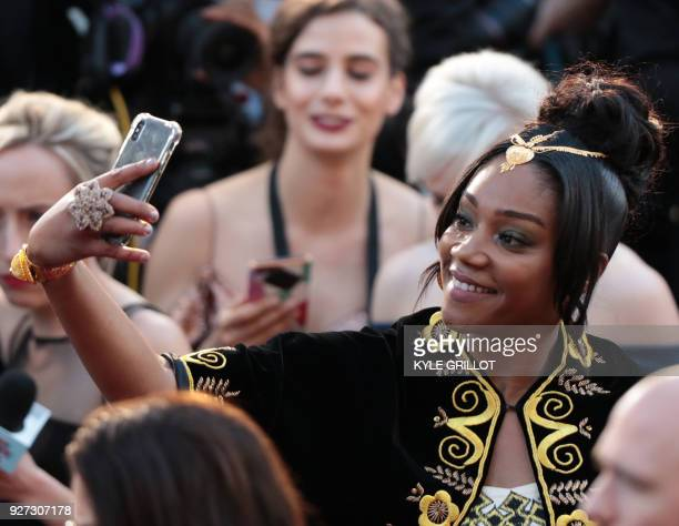 Tiffany Haddish arrives for the 90th Annual Academy Awards on March 4 in Hollywood California / AFP PHOTO / Kyle GRILLOT