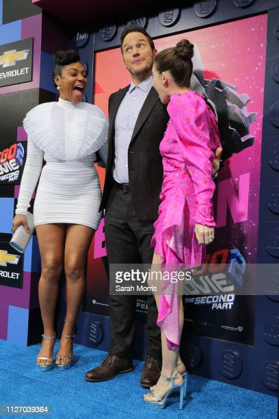 Tiffany Haddish Chris Pratt and Alison Brie attend the premiere of Warner Bros Pictures' 'The Lego Movie 2 The Second Part' at Regency Village...