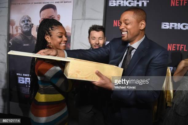 Tiffany Haddish Joel Edgerton and Will Smith attend the LA Premiere of Netflix Films 'BRIGHT' on December 13 2017 in Los Angeles California