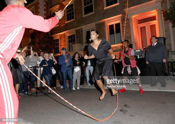 Tiffany Haddish jumps roap during the afterparty at the For Your Consideration Red Carpet Event for TBS' Hipsters and OG's at Steven J Ross Theatre...