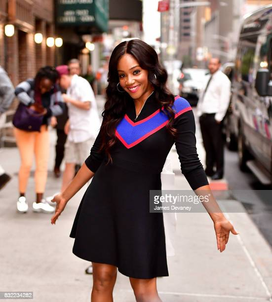 Tiffany Haddish leaves the 'The Late Show With Stephen Colbert' at the Ed Sullivan Theater on August 15 2017 in New York City