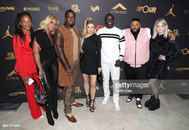 Tiffany Haddish Mary J Blige Sean 'Diddy' Combs Fergie Akon DJ Khaled and Meghan Trainor attend The Four cast Sean Diddy Combs Fergie and Meghan...