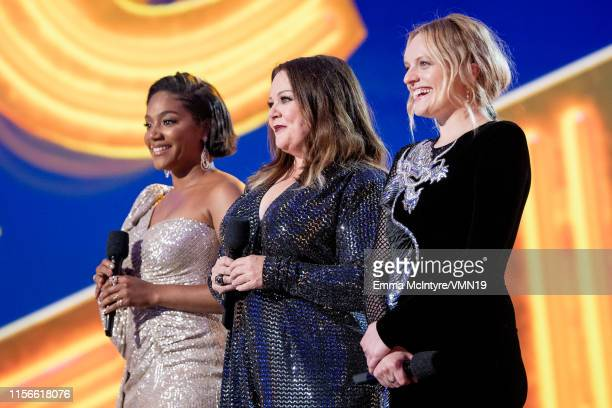 Tiffany Haddish Melissa McCarthy and Elisabeth Moss attend the 2019 MTV Movie and TV Awards at Barker Hangar on June 15 2019 in Santa Monica...