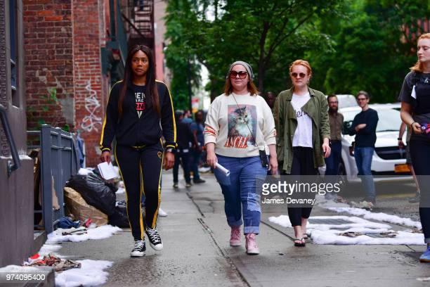 Tiffany Haddish Melissa McCarthy and Elisabeth Moss seen on location for 'The Kitchen' in the East Village on June 13 2018 in New York City