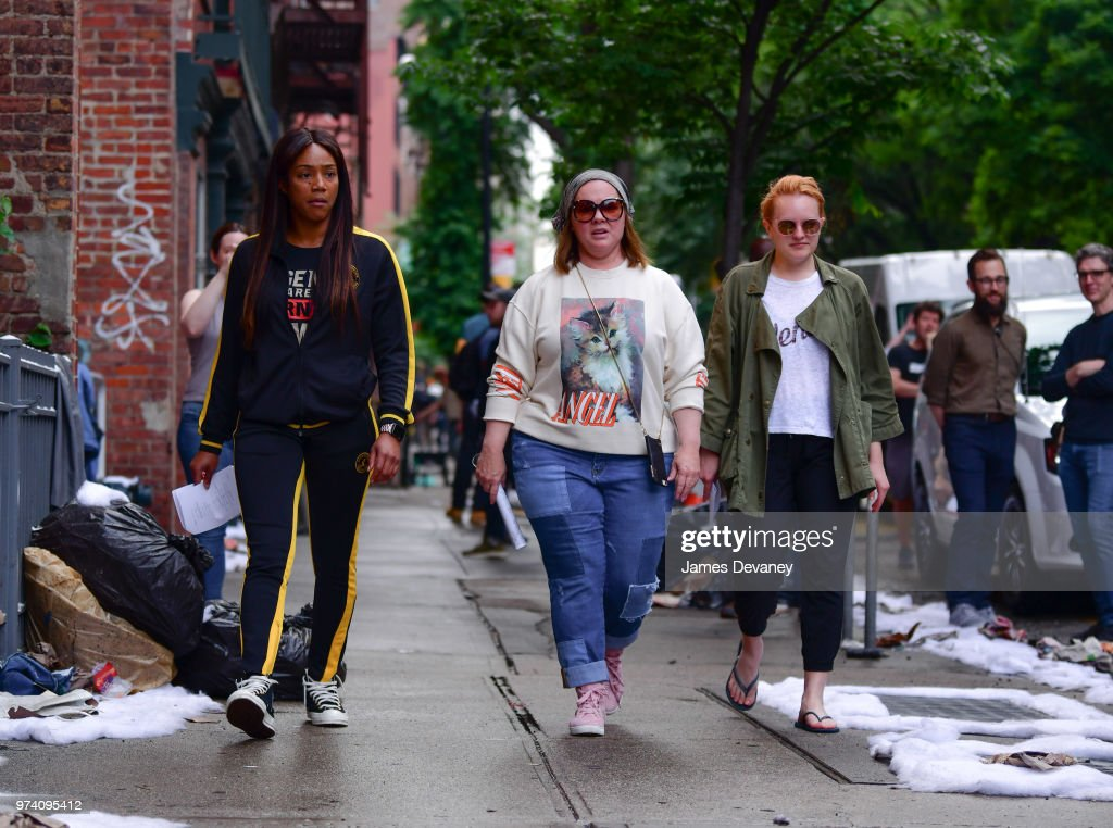 Tiffany Haddish, Melissa McCarthy and Elisabeth Moss seen on location for 'The Kitchen' in the East Village on June 13, 2018 in New York City.