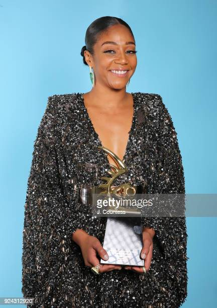 Tiffany Haddish poses backstage with her award during the 2018 American Black Film Festival Honors Awards at The Beverly Hilton Hotel on February 25...